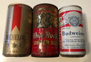Vintage Beer And Soda Can Lot White Rock Ginger Ale Budweiser Michelob