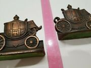 Antique Heavy Metal Iron Book Ends Chariot Car Wagon Bronze Color Royal Howell