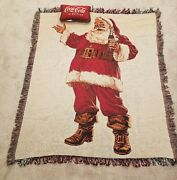 Coca Cola Coke Santa Tapestry Throw Blanket 50×60 With Pillow Christmas 2012