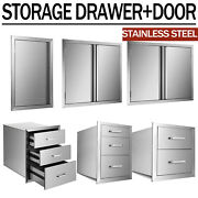31and039and039 Stainless Steel Bbq Outdoor Kitchen Island Double Single Door Access Drawer