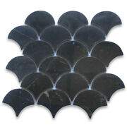 N993xp Nero Marquina Black Marble Fish Scale Fan Scallop Mosaic Tile Polished