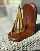 """Sailboat Bookend Brass And Wood 7"""" Tall Door Stop Nautical Love Sailing-1 Only"""