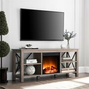 Hennandhart Gray Oak Tv Stand With Log Fireplace Insert