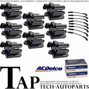 Acdelco Double Platinum Spark Plug + Engine Ignition Coil Wireset For Gmc C4500