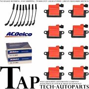 Acdelco Double Platinum Spark Plug + Racing Ignition Coil Wireset For Gmc C4500