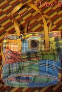 Dooney Bourke Madras Plaid Ants At A Picnic Bucket Tote Rare