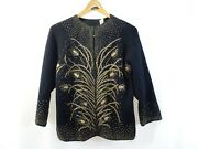 Banff Ltd Black Gold Beaded Virgin Wool Sweater Jacket Party Special Occasion