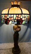 Vtg Large Greek Style Goddess Holding Grapes And Stained And Slag Glass Shade