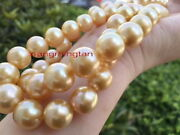 Aaaaa Long 3615mm Natural Real Round South Sea Golden Pearl Necklace 14k Gold