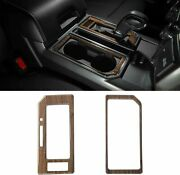 Wood Grain Cab Gear Shift And Cup Holder Trim For Ford F150 2016-2018 T