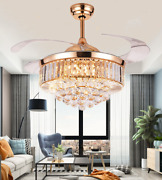 42 Crystal Retractable Ceiling Fans Luxury Chandelier W/ 3-color Light Remote
