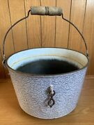 Antique Cast Iron Three Footed Enamelware Bean Pot Kettle Gate Mark Beige