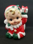 Vintage 1950and039 Christmas Baby In Santa Outfit With Present Planter Japan