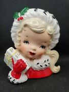 Vintage 1950's Napco Christmas Shopping Girl With Square Gift Head Vase Planter
