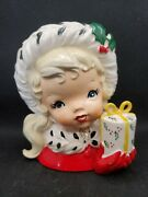 Vintage 1950's Napco Christmas Shopping Girl With Round Gift Head Vase...