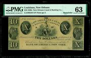 1830s New Orleans La 10 Dollar Obsolete Canal Bank Note Pmg Choice Unc 63