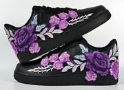 🌹 Nike Air Force 1 07 Low Purple Rose Flower Floral Black Custom Shoes All Size