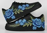🌹 Nike Air Force 1 07 Low Blue Rose Flower Floral Black Custom Shoes All Size