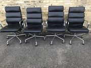 Herman Miller Eames Aluminum Group Executive Chairs Black Leather 2 Available