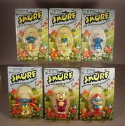 Vintage 1980 Smurfs 6 Wind Up Toys Moc Figures Smurfette And Papa Smurf Toy Mip