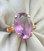 Stunning Rare Ostby Barton Titanic 10k Gold 5ctw Faceted Amethyst Statement Ring