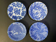 Set 4 Antique Japanese Hand Painted Blue And White Procelain Dishes