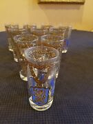 Georges Briard 5-3/4 Highball Tumbler Glasses Gold Chains Set Of 10 Mint