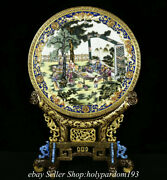 18.4 Marked Chinese Colour Enamels Gilt Porcelain Flower Tree Human Screen
