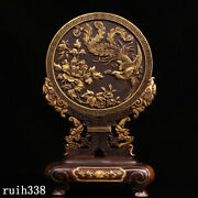 12 Collection China Antique Pure Copper Gilt Hand Carving Phoenix Screen