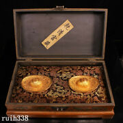 China Qing Dynasty Pure Copper Gilt Yuanbao A Pair Old Lacquerware Box