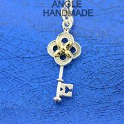 Key Flower Charm Dangle, Sterling Silver, Garden Spring 2021 Collection Charms