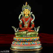 9.8 Exquisite China Tibet Pure Copper Gilt Color Painting Amitayus Statue