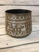 Antique Egyptian Middle Eastern Damascene Silver And Copper Inlay On Brass Vessel