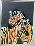 Colorful Zebras Painting Original Canvas Oil Painting Hand Painted