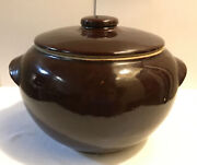 Vintage Usa Bean Pot Crock Brown Gloss Glaze Stoneware Oven Ware With Lid