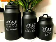Rae Dunn Canisters Set Happy Halloween Trick Or Treat Boo Dancing Skeletons Vhtf