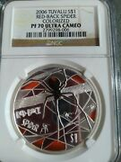 Red Back Spider 2006 Tuvalu 1oz Silver Proof Coin Ngc Pf70 Uc - Pop Only 13