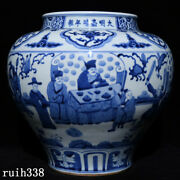 13.2 Ancient China Ming Dynasty Blue And White Character Story Pattern Pot