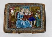 Antique 18th Or 19th C. Limoges Enamel Plaque Mounted On Playing Card Box
