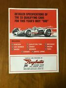 1968 Indy 500 33 Qualifying Cars Raybestos Detailed Specifications Auto Racing
