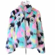 Iron Fist I See You Fur Jacket Sz Large Bright And Bold And Cute With Eyes