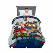 New Kids Super Mario Odyssey Twin/full Reversible Comforter And Sheets