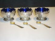 3 Corbell And Co. Silver Plate Open Salt Cellars Cobalt Blue Inserts And Spoons