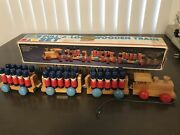 Vintage 1986 My Kids Pull A Long Wooden Train Set Toy 30 Soldiers Missing 1 Sign