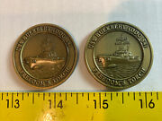 Uss Bulkeley Ddg-84 Freedom's Torch Navy Challenge Coin Lot Of 2