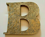 Gold-tone Plated Metal Letter Initial Paperweight B Decorative 4 X 4