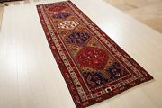 11and039 1 X 3and039 5 Vintage Runner Rug Hand-knotted Collectible Semi Antique Carpet