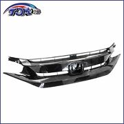 Front Bumper Grille Glossy Black For 2019 2020 Honda Civic Sedan Coupe