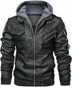 Menandrsquos Casual Stand Collar Leather Zip-up Motorcycle Bomber Jacket Removable Hood