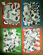 Amazing Hand Painted 4 Pieces Of Abstract Art Sign By The Artist Marek 2021 Wow